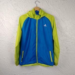 Adidas Fleece Lined Hooded Windbreaker Jacket